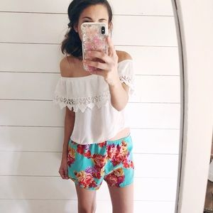 Colorful floral shorts. Super cozy. Vacation style